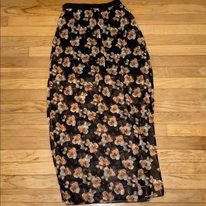 Rue21 Black Floral Long Skirt